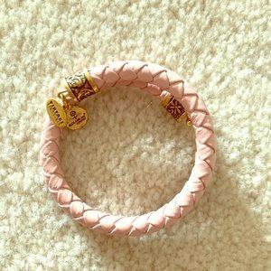 Alex and Ani Vintage 66 pink leather wrap bracelet